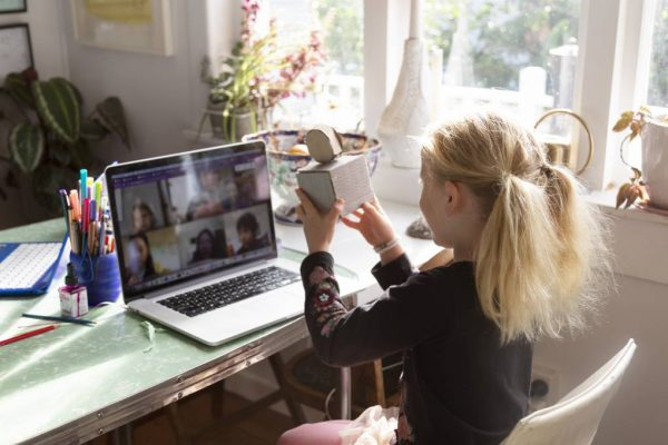 A student participates in remote learning.